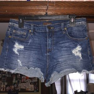 Pants - Distressed jean shorts